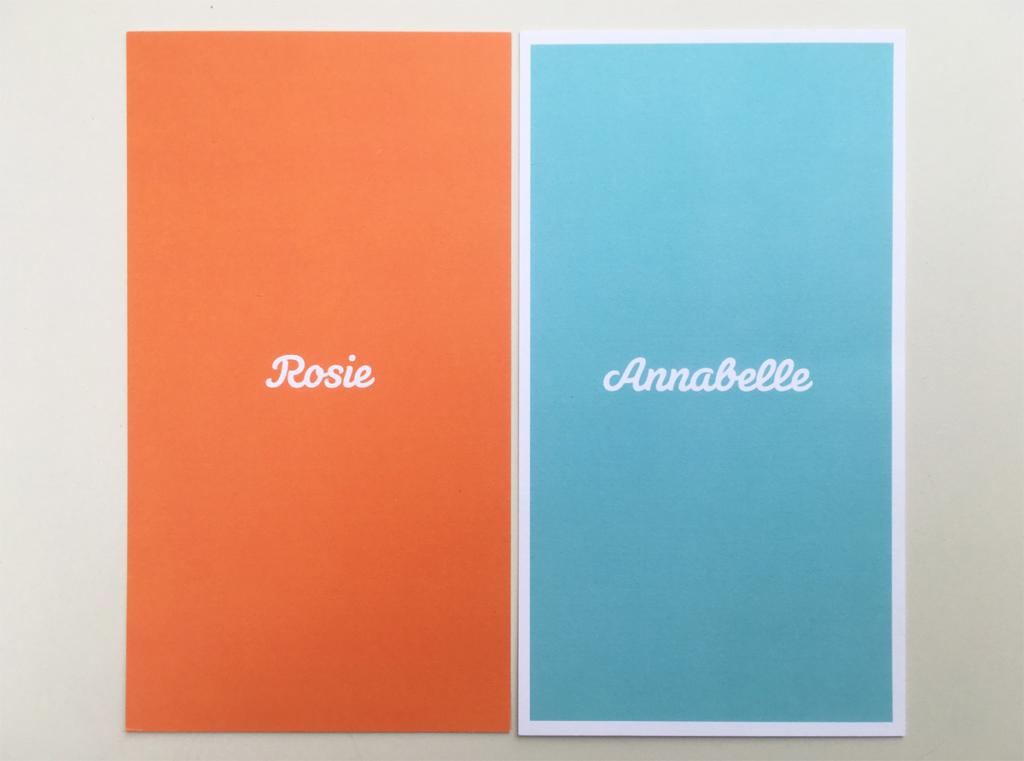 Geboortekaartjes en doopsuiker Rosie en Annabelle